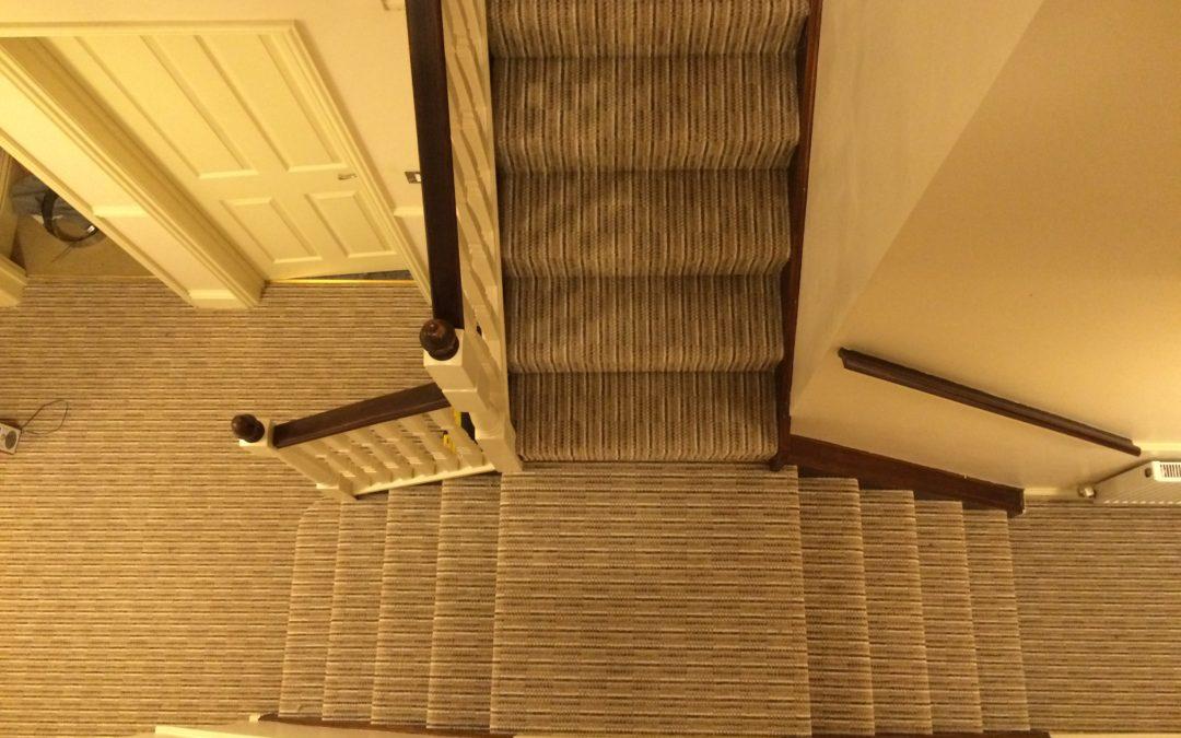 Striped hallway, stairs and landing – Speedwell, Bristol.